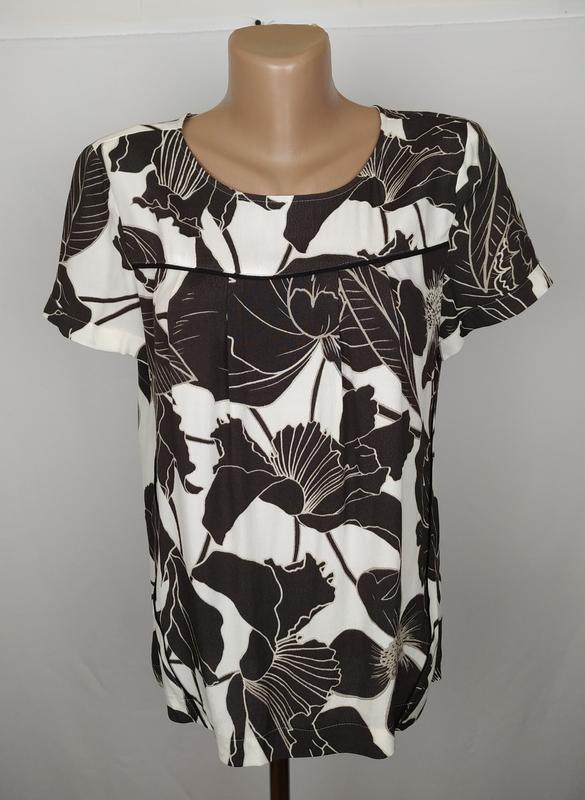Блуза натуральная стильная в принт next uk 12/40/m
