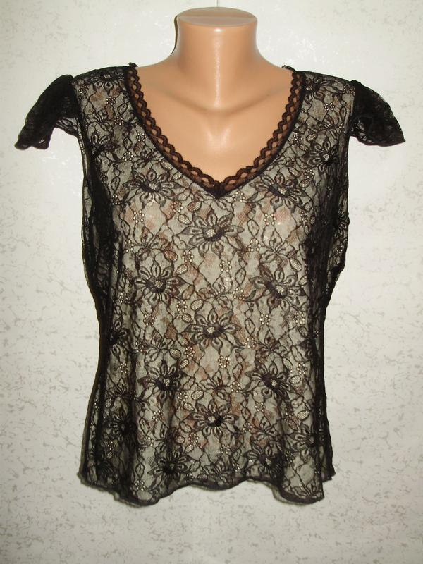 Кружевная стрейчевая блуза двойное кружево 16/50-52 размера