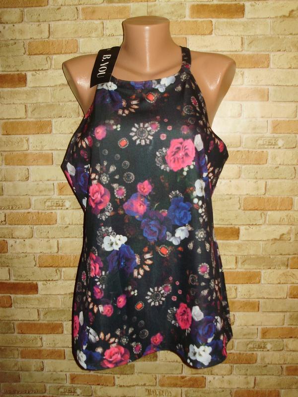 Новая блуза майка дайвинг цветочный принт 18/52-54 размера
