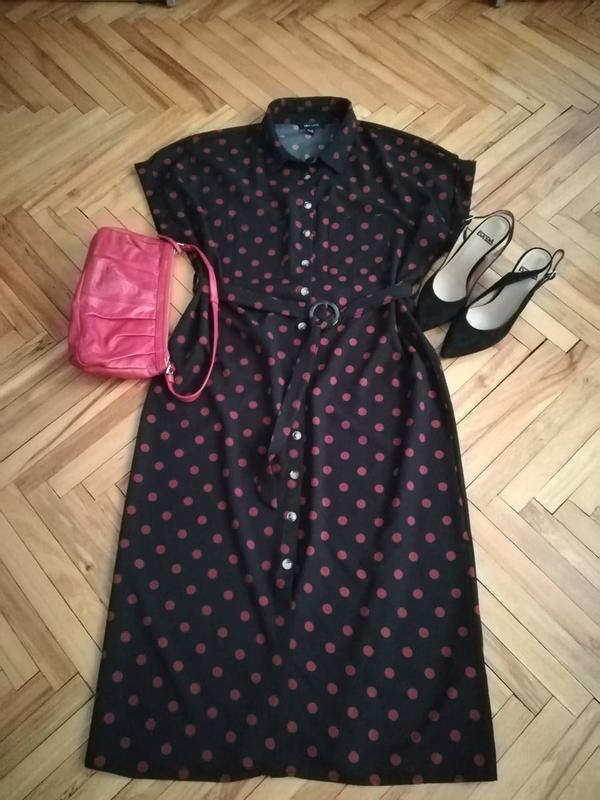 Платье рубашка черное в красный горошек new look