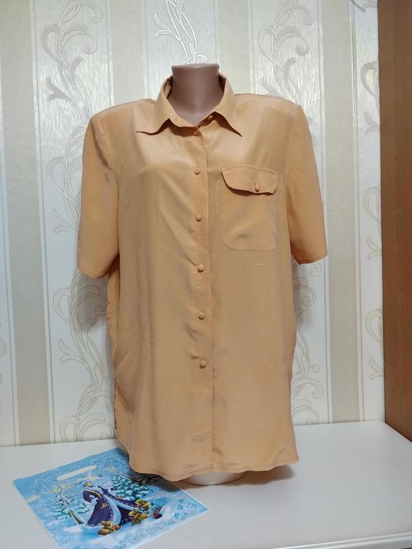 Шелковая рубашка блуза с коротким рукавом, 100% шелк, с&а