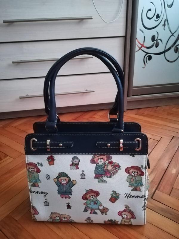 Оригинальная качественная сумка екокожа/гобелен henney bear ан...