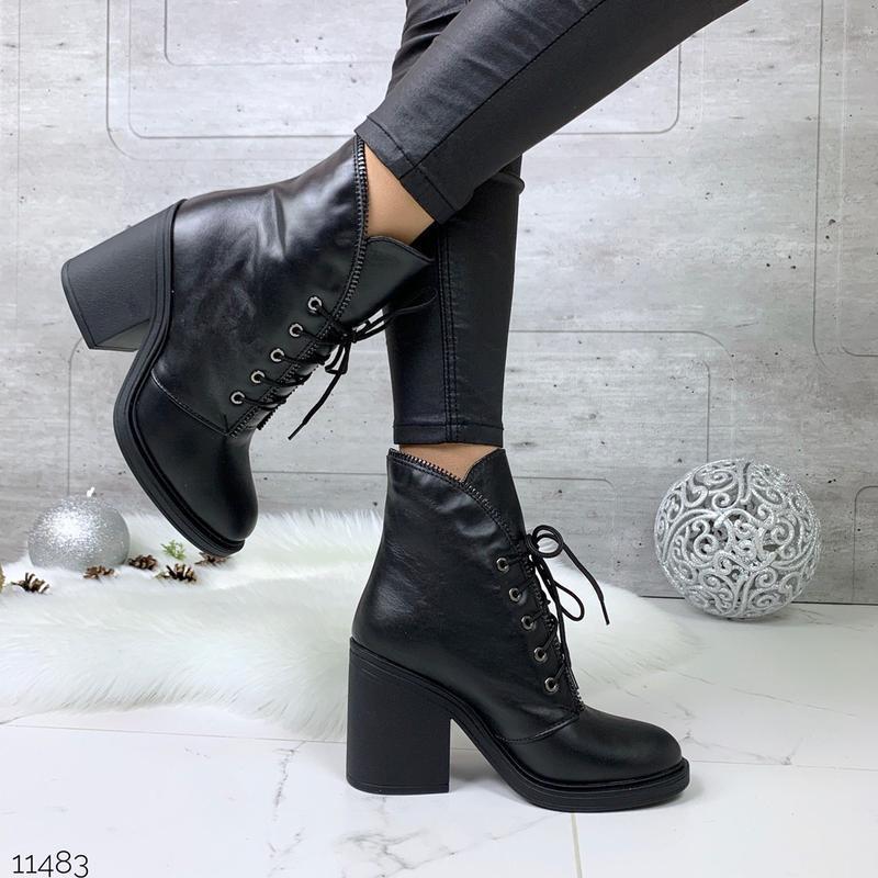 Зимние ботильоны из натуральной кожи,зимние кожаные ботинки на...