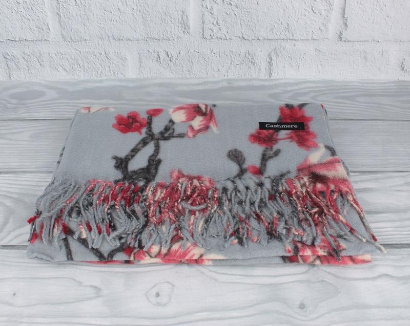 Шикарный кашемировый шарф, палантин cashmere 7580-4 серый цвет...