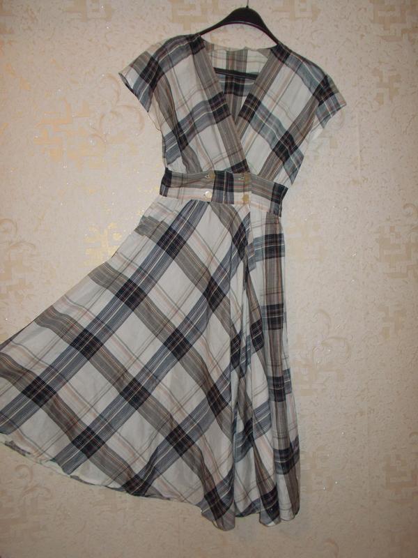 Винтажное разноцветное ретро платье в клетку расклешенная юбка...