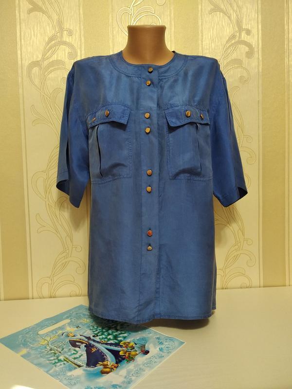 Шелковая рубашка темно синяя, 100% шелк, marcel clair