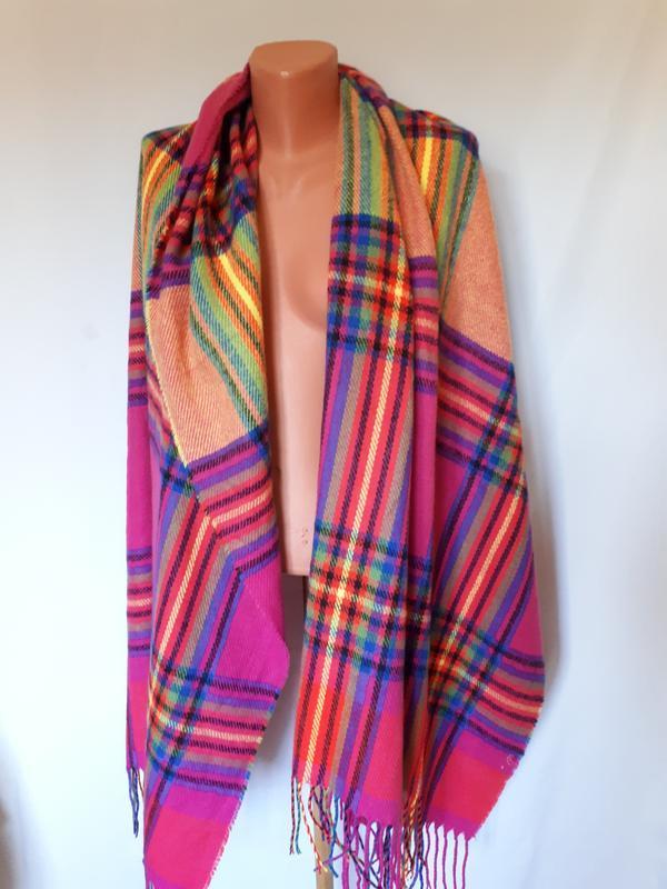 Яркий широкий шарф* палантин(размер 210 см на 78 см)