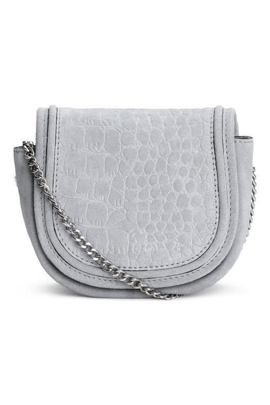 Міні мікро сумка через плече натуральна замша сіра h&m