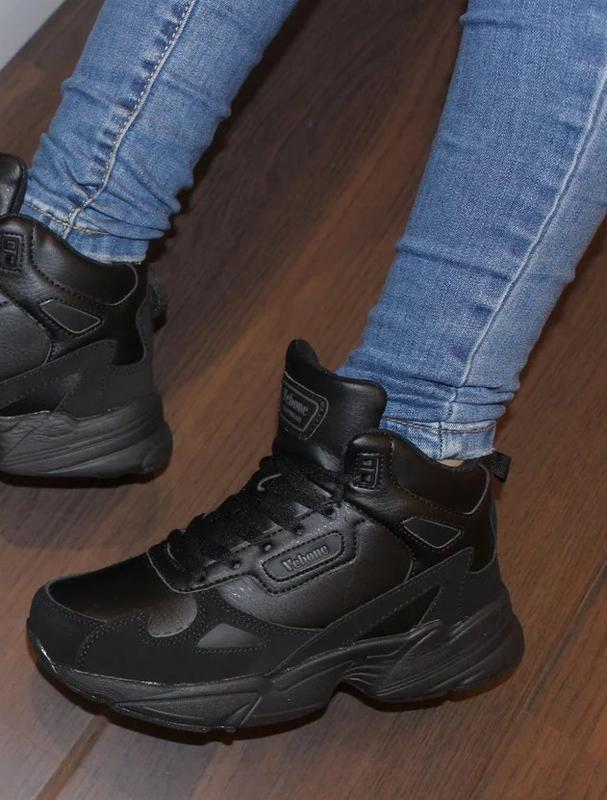 Зимние женские черные кроссовки ботинки на шнурках турция