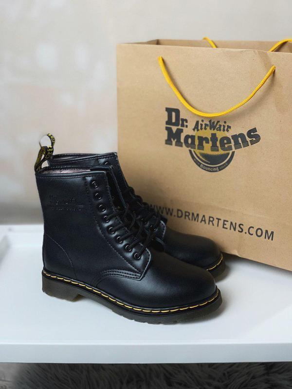 Качественные зимние меховые ботинки dr martens black 1460 /осе...