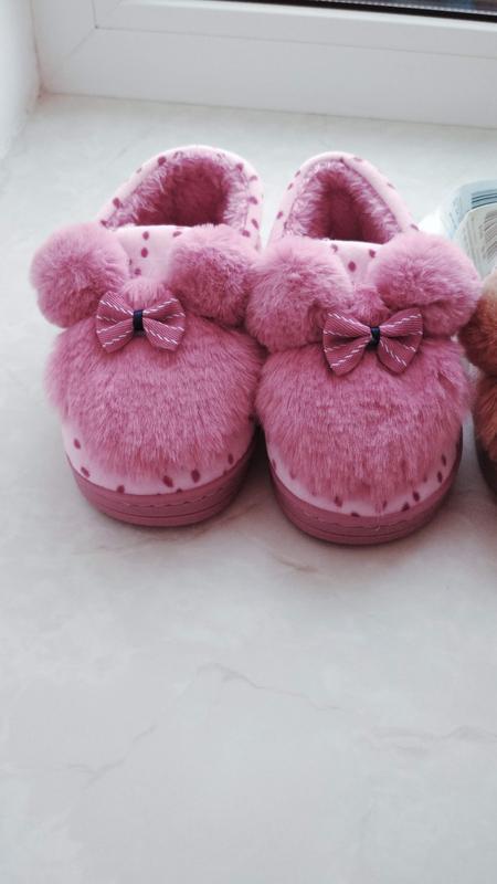 Очень теплые тапочки на меху для девочки розовые 16 см стелька