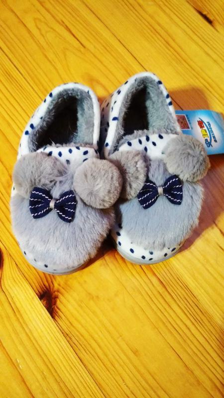 Тапочки на меху для девочки очень теплые серые голубые 16 см с...