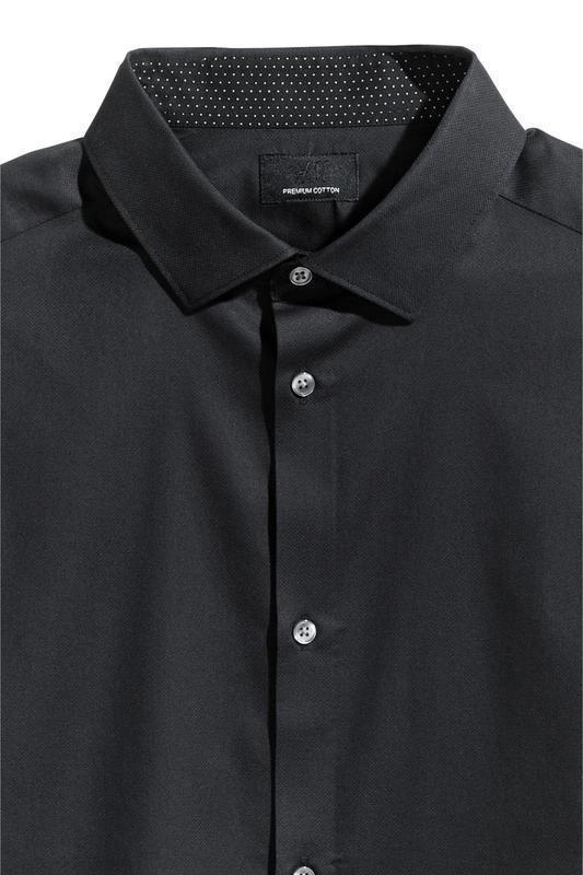 Черная рубашка h&m premium quality из хлопка премиум !