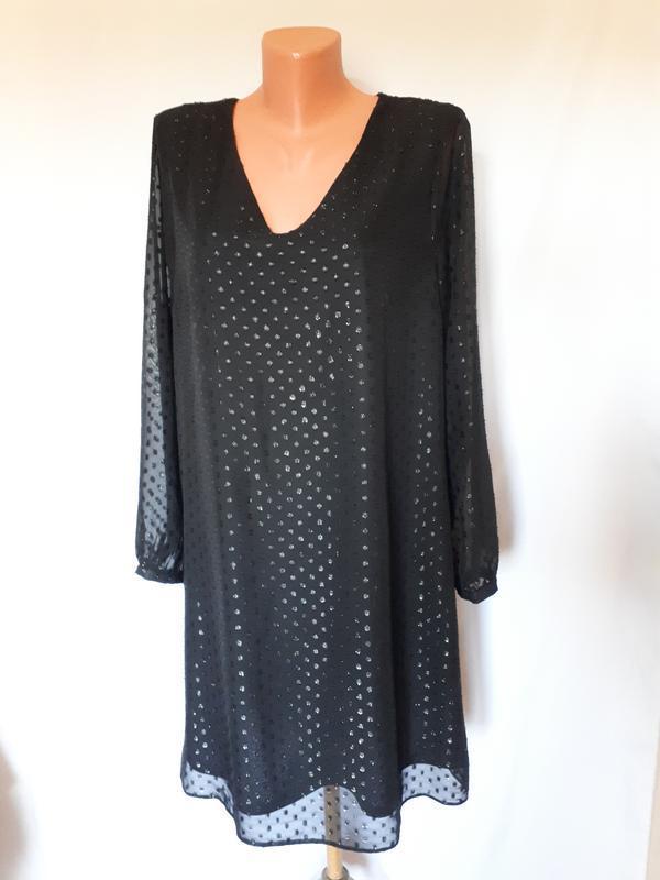 Вечернее черное платье свободного кроя paraphrase( размер 14-16)