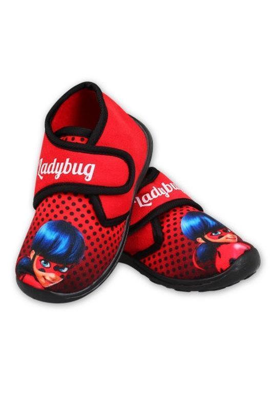 Тапочки для девочки леди баг на липучках красные махровые теплые