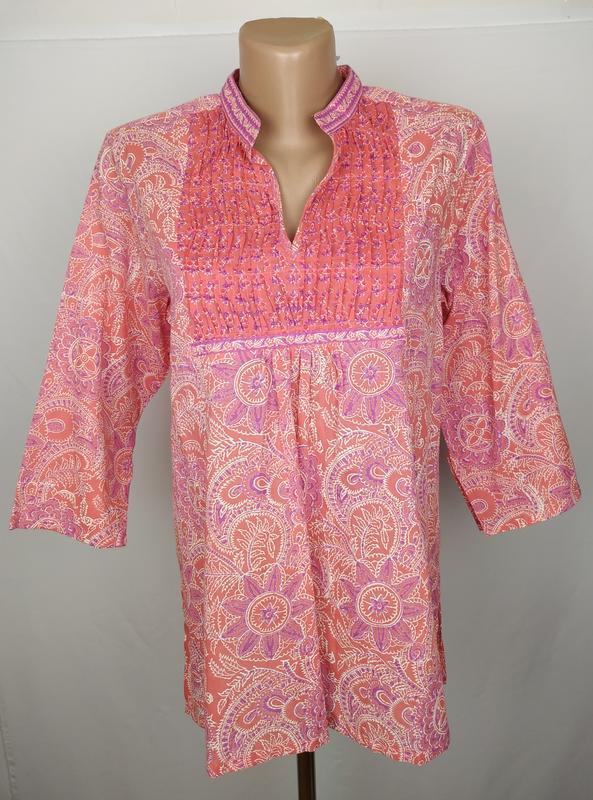 Блуза новая стильная хлопковая в орнамент uk 10/38/s