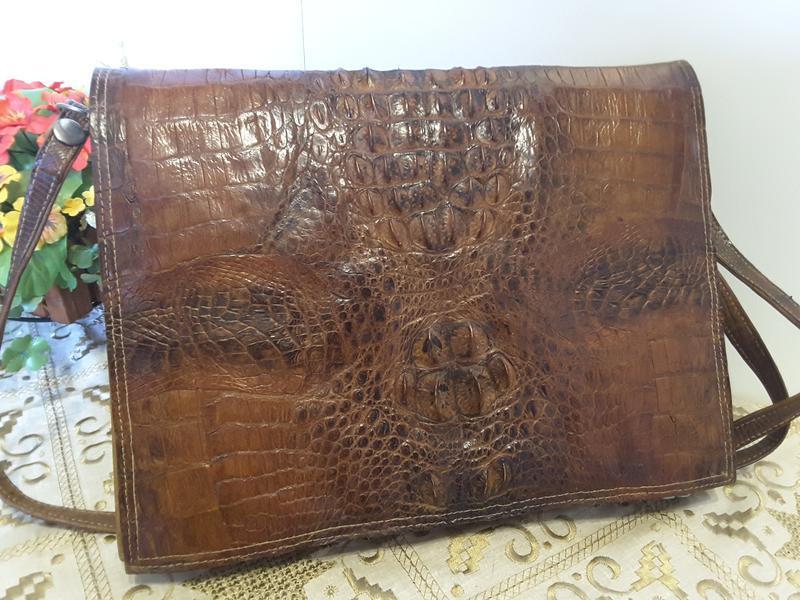 Сумка-папка из натуральной кожи крокодила - Фото 2