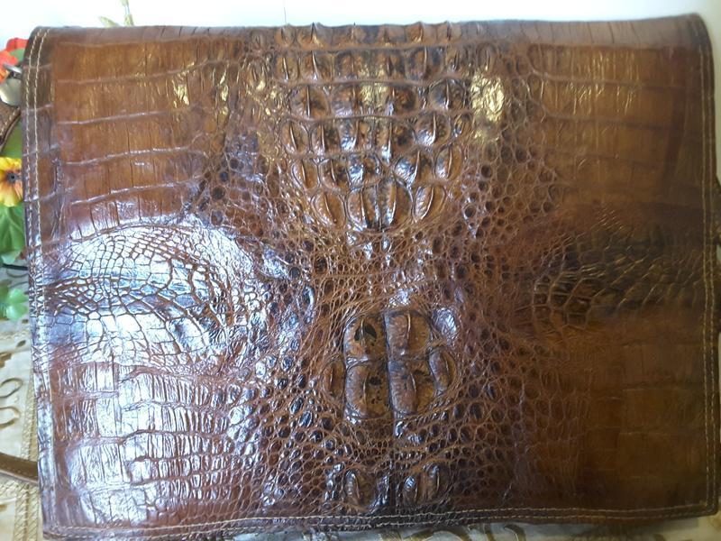 Сумка-папка из натуральной кожи крокодила - Фото 3