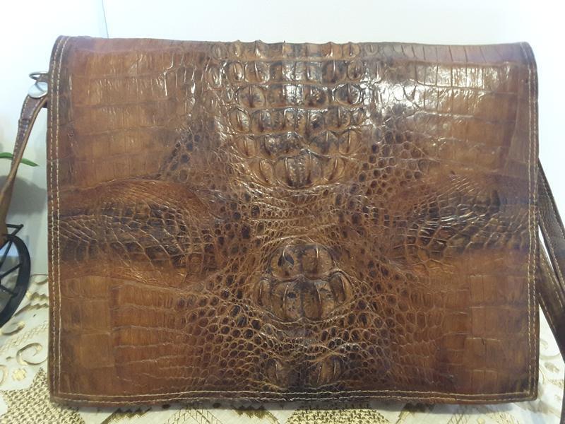 Сумка-папка из натуральной кожи крокодила - Фото 4