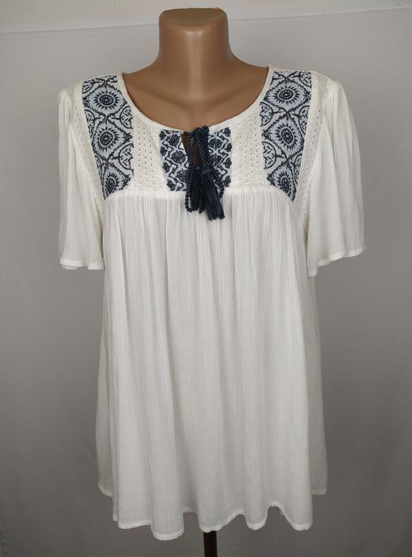 Блуза белая вышиванка красивая dorothy perkins uk 12/40/m