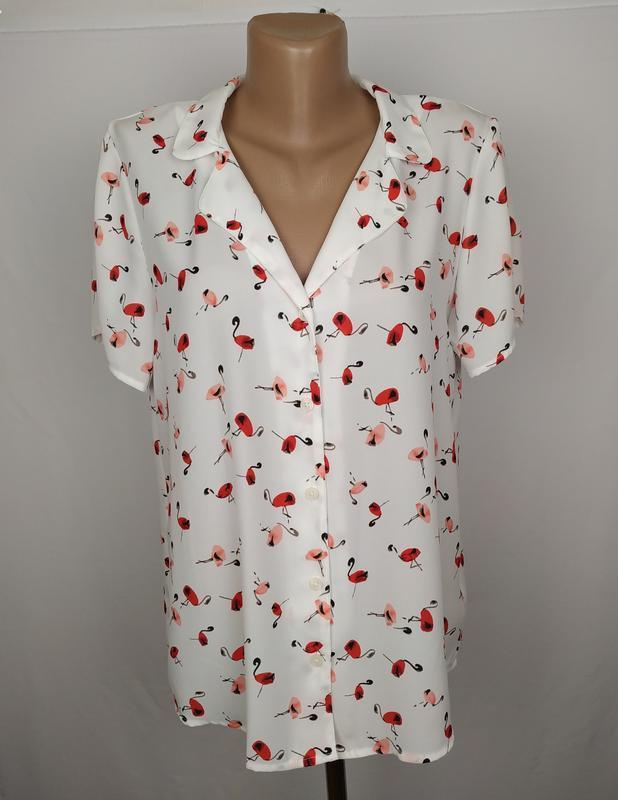 Блуза белая красивая в принт next uk 12/40/m