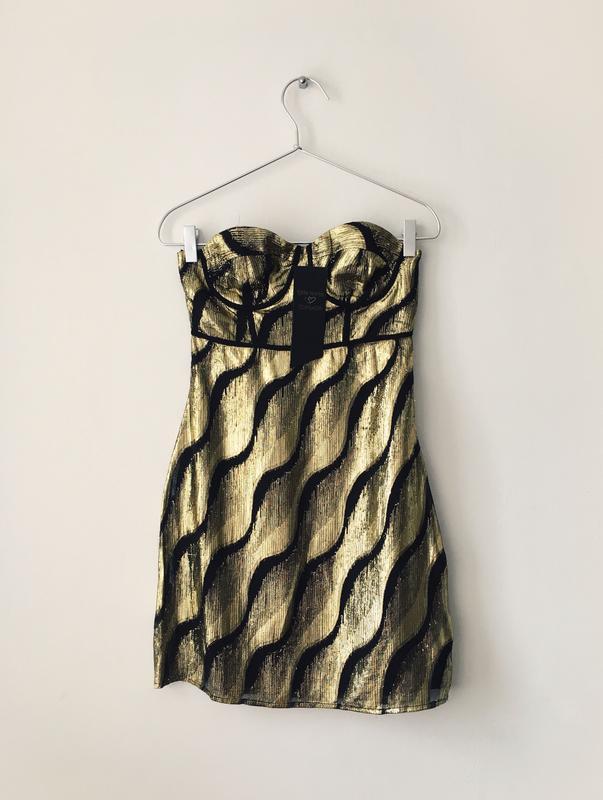Шикарное платье-бюстье в цвете золотистый металлик topshop кол...