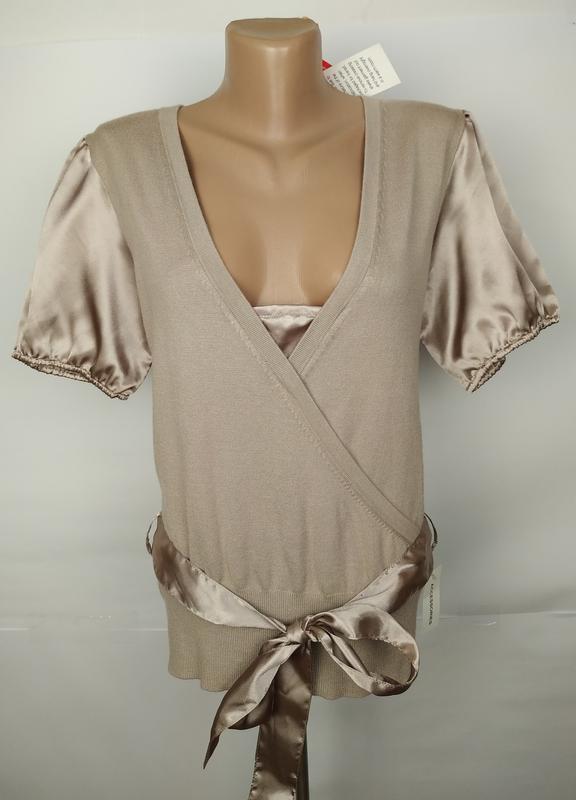Кофта джемпер блуза новая на запах комбинированная атлас трико...