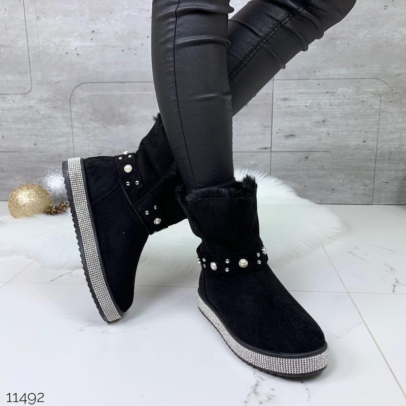 ❤ женские черные зимние замшевые угги ботинки сапоги полусапож...