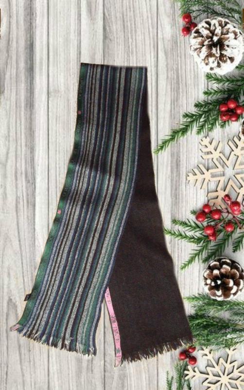 💨❄100% шерсть теплый длинный двухсторонний шарф в полоску унис...