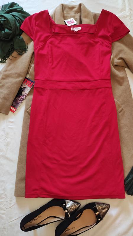 Красное большое батальное платье трикотажное миди glamorosa