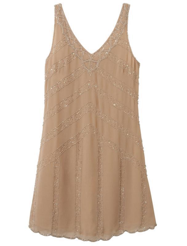 Нежное платье нюдового цвета расшитое бисером и пайетками new ...