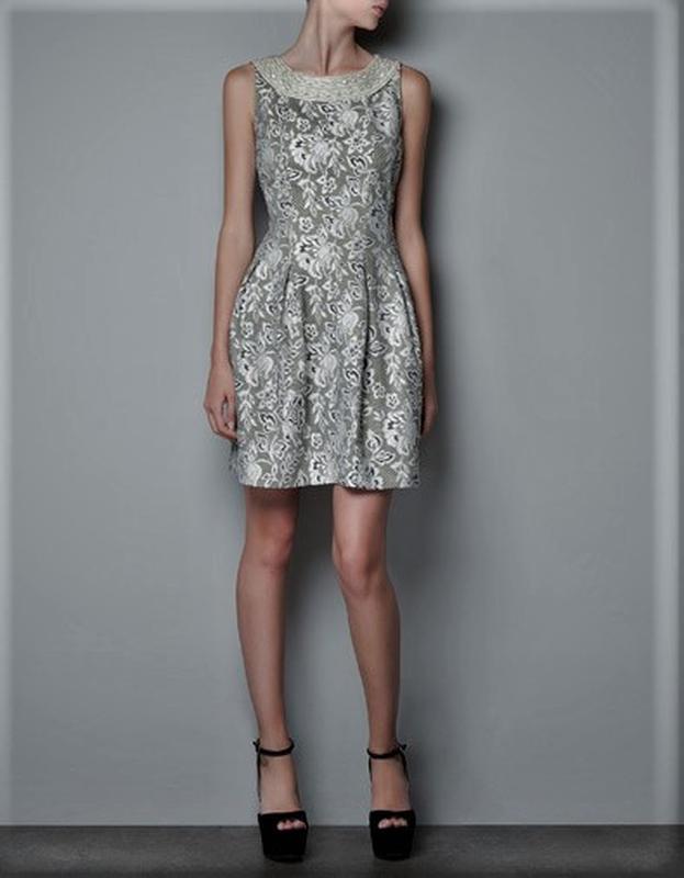 Блестящие платье невероятной красоты от zara ,фактурная ткань ...