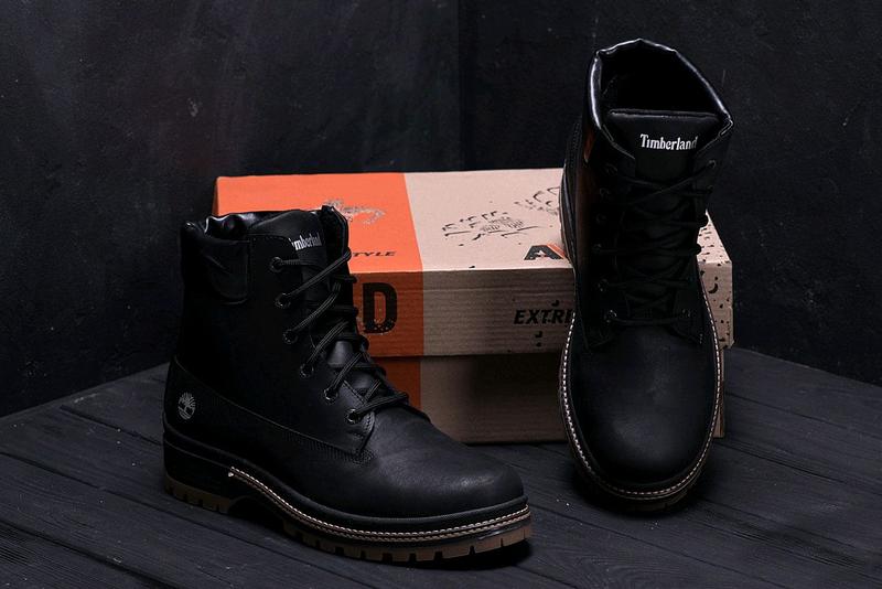 Мужские зимние кожаные ботинки Timberlend Crazy Shoes Black (репл