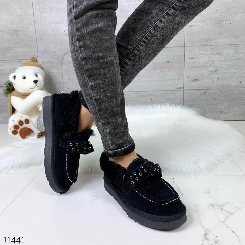 ❤ женские черные зимние замшевые тапки угги ботинкиполусапожки...