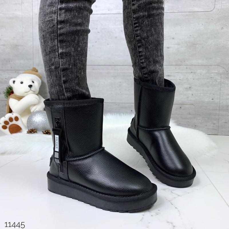 ❤ женские черные зимние кожаные угги ботинки сапоги полусапожк...