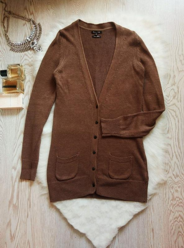 Длинный льняной свитер на пуговичках кардиган кофта с вырезом ...