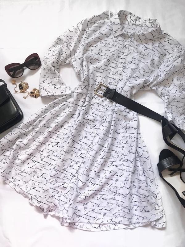 Платье- рубашка в принт р.42