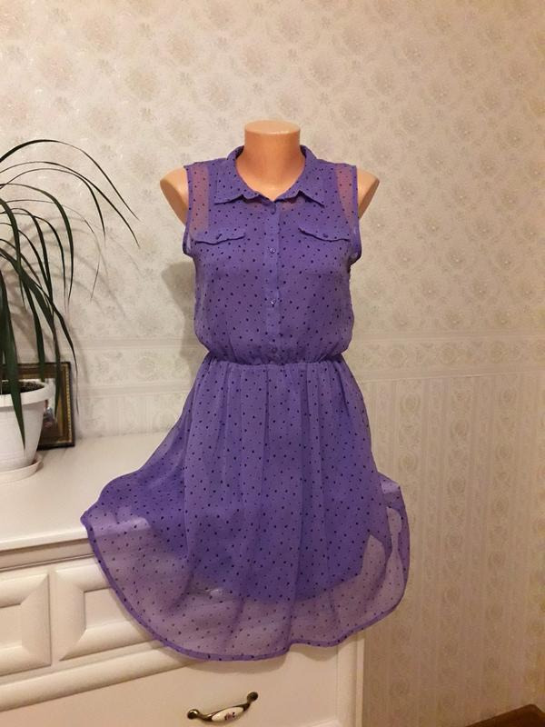 Сиреневое шифоновое платье в сердечки h&m, р. 36