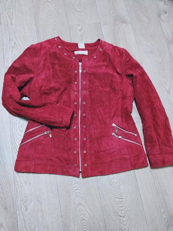 Куртка замшевая замшевый пиджак на змейке модная