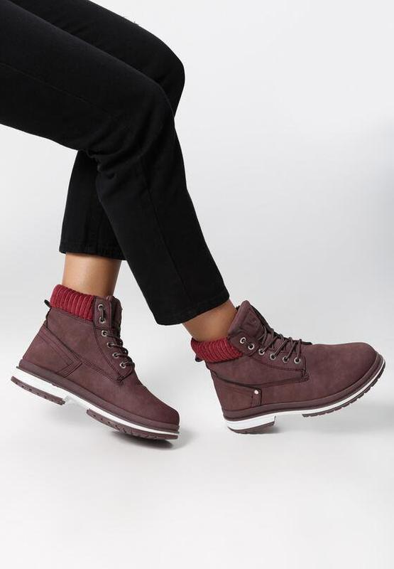 Новые шикарные женские зимние бордовые ботинки