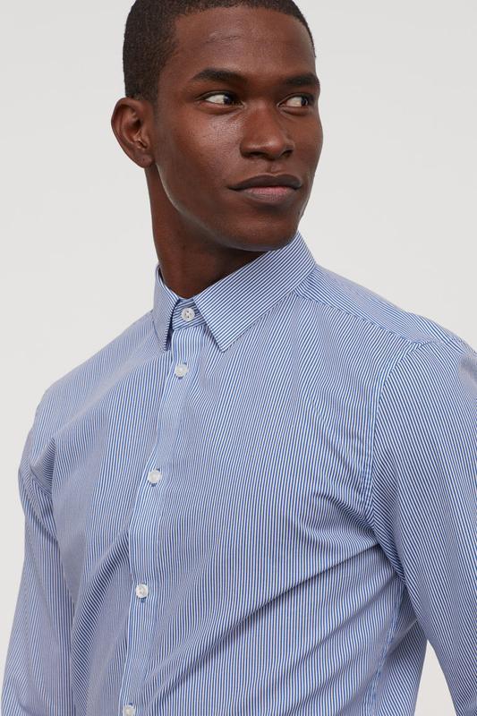 Полосатая рубашка h&m , easy iron , slim fit !