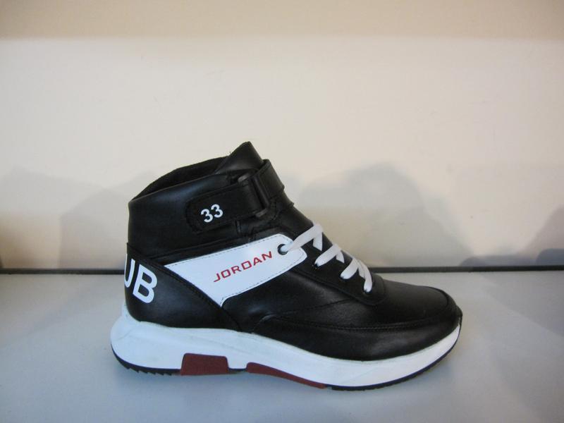 Мужские кожаные зимние ботинки/кроссовки в стиле jordan club33 - Фото 2