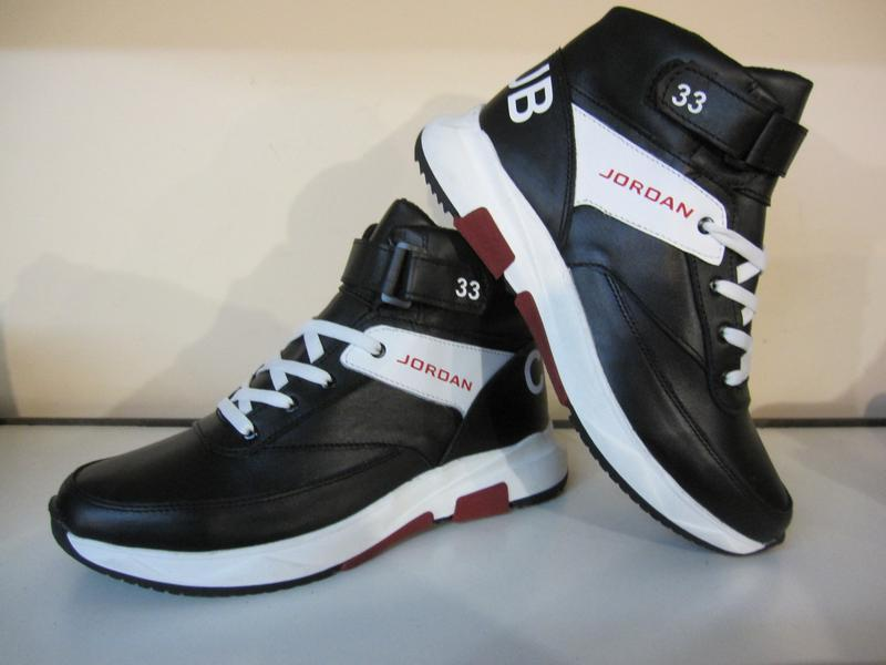 Мужские кожаные зимние ботинки/кроссовки в стиле jordan club33 - Фото 3