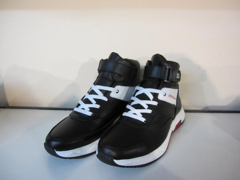 Мужские кожаные зимние ботинки/кроссовки в стиле jordan club33 - Фото 4