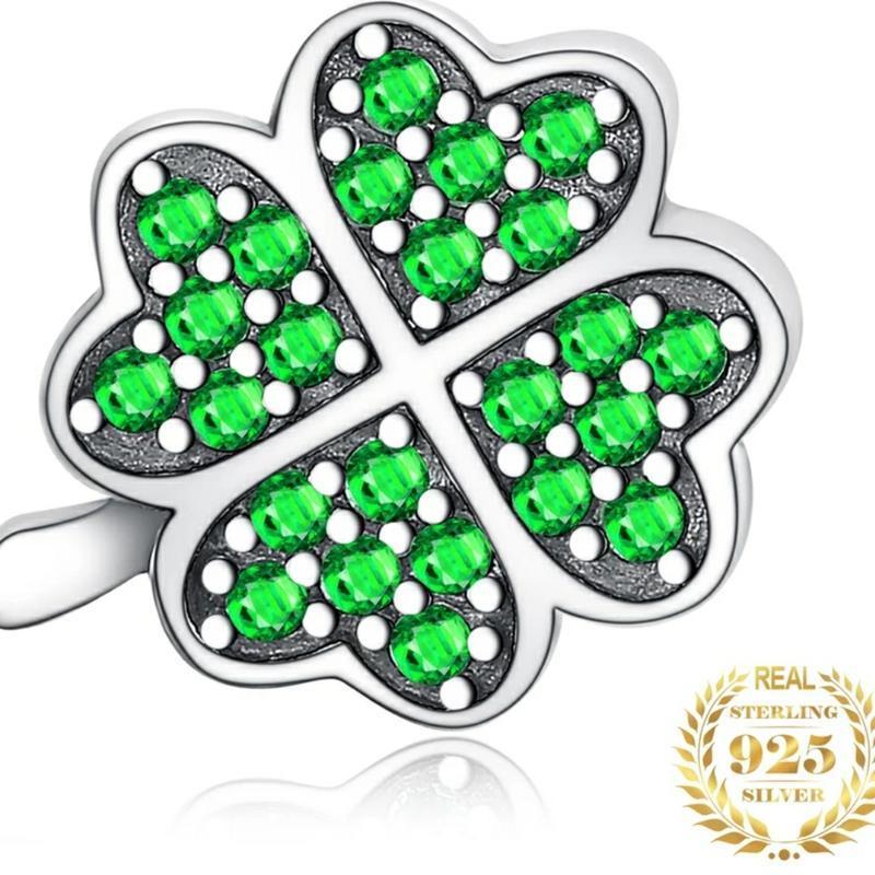 Ирландский клевер,зеленый фианит 925 пробы.серебряная  бусина ...