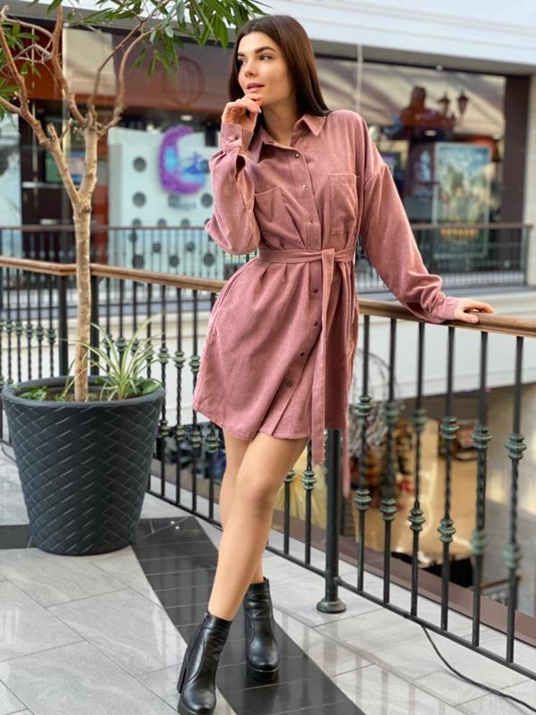 Вельветовое платье - рубашка
