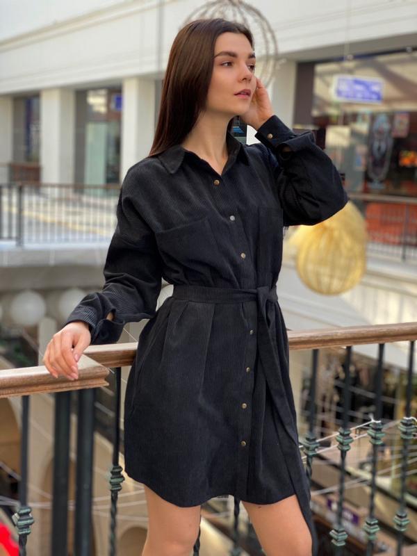 Чорне вельветове плаття - сорочка