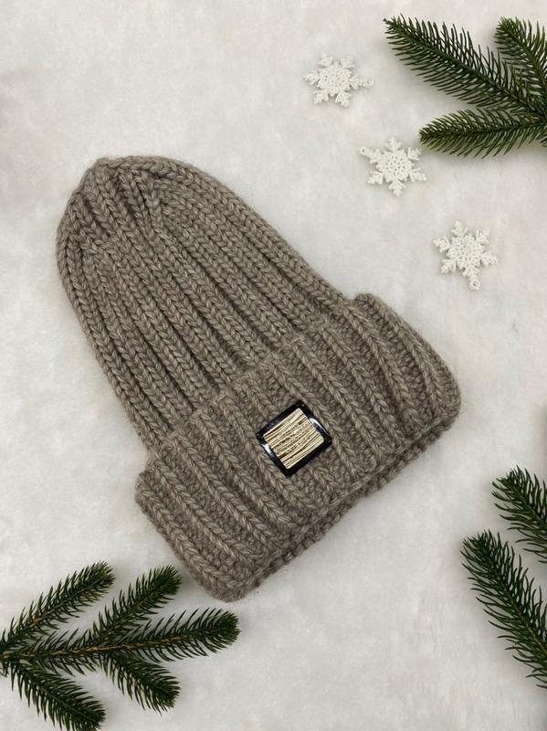 Тёплые шапочки крупной вязки с отворотом