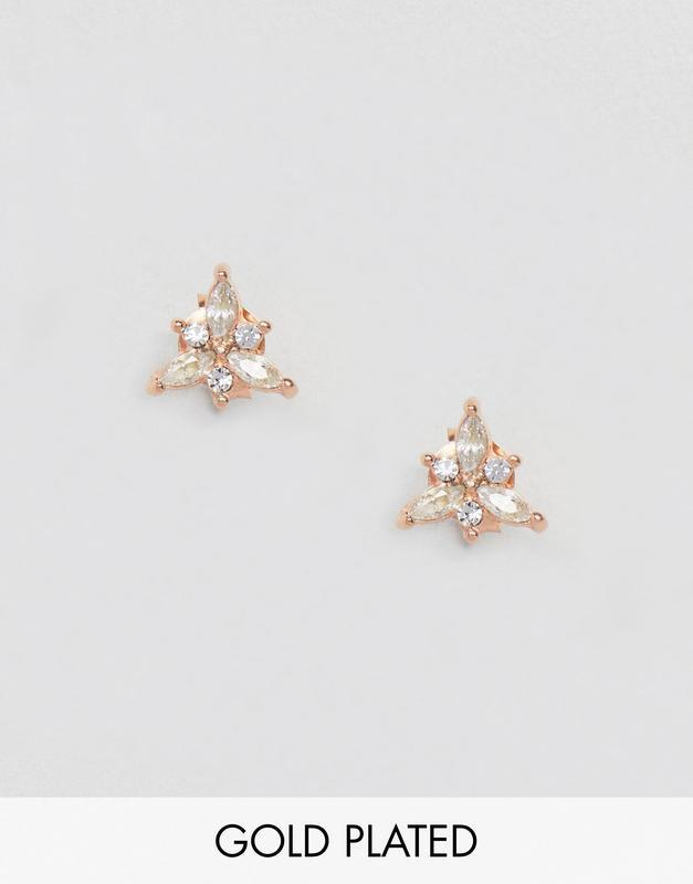 1+1=3 до 30/12 серьги-гвоздики с покрытием розовым золотом kin...