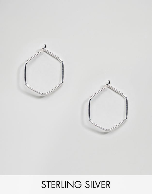 1+1=3 до 30/12 серебряные миниатюрные серьги-шестигранники kin...